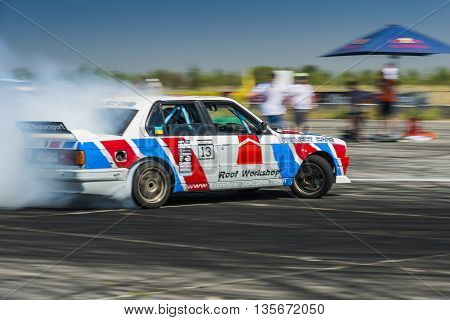 Vinnytsia Ukraine-July 25 2015: Unknown rider on the car brand BMW overcomes the track in the Drift championship of Ukraine on July 242015 in Vinnytsia Ukraine.
