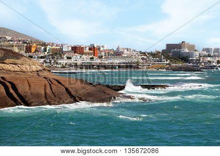Tenerife ocean and city Las Americas Canary Islands Spain