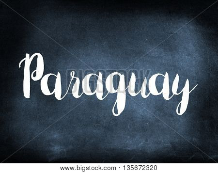 Paraguay written on a blackboard