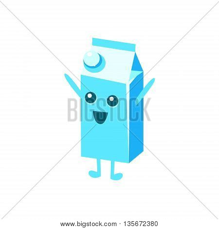 Happy Big Milk Carton Character Flat Childish Simple Style Vector Drawing Isolated On White Background