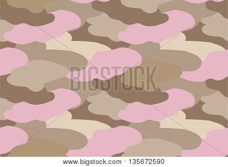 Camouflage fabric beige color military style seamless print pattern vector illustration