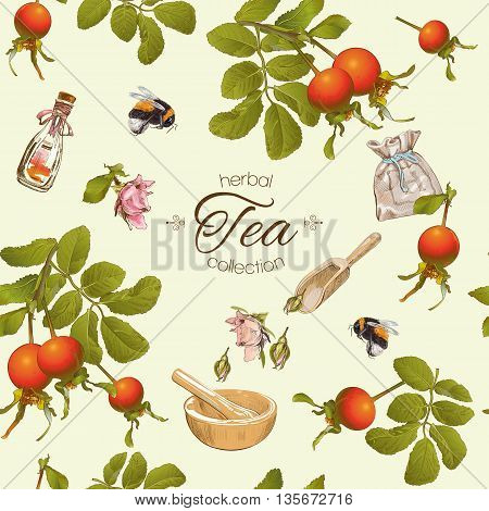 Vector herbal tea seamless pattern with rose hip berries.Background design for tea homeopathy herbal cosmetics groceryhealth care products. Best for fabric textile wrapping paper.
