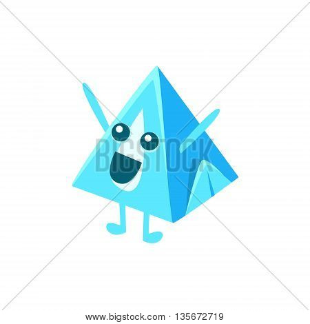 Pyramid Milk Carton Character Flat Childish Simple Style Vector Drawing Isolated On White Background