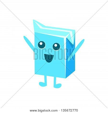 Small Milk Pack Carton Character Flat Childish Simple Style Vector Drawing Isolated On White Background