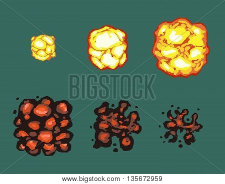 Explosion burst animation vector frames. Effect pixel flame, power explosion pixel art, bright retro animation illustration