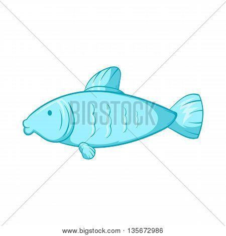 Fish icon in cartoon style isolated on white background. Seafood symbol