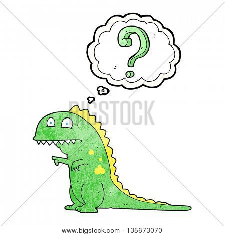 freehand drawn thought bubble textured cartoon confused dinosaur