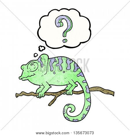 freehand drawn thought bubble textured cartoon curious chameleon