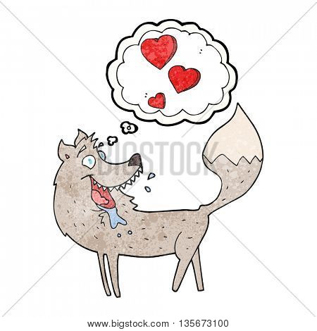 freehand drawn thought bubble textured cartoon wolf in love