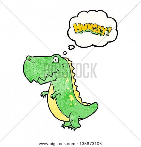 freehand drawn thought bubble textured cartoon hungry dinosaur