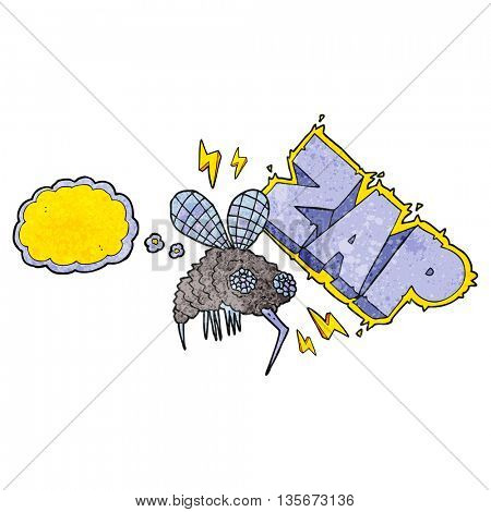 freehand drawn thought bubble textured cartoon fly zapped
