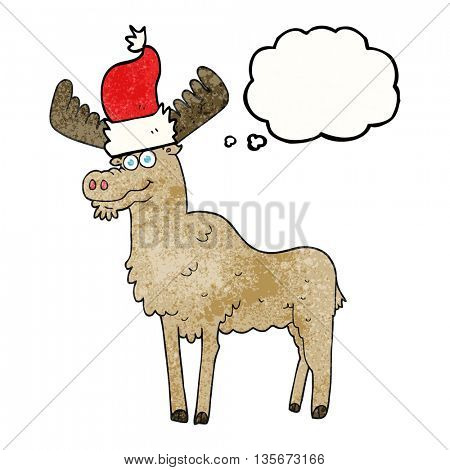 freehand drawn thought bubble textured cartoon christmas moose
