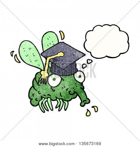 freehand drawn thought bubble textured cartoon fly graduate