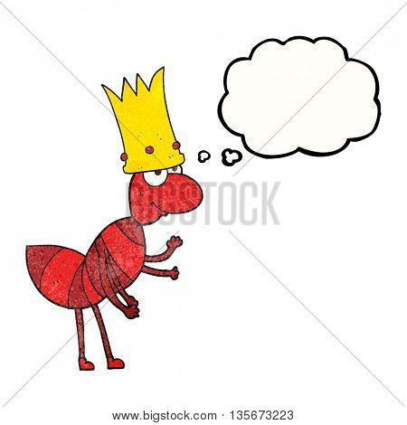 freehand drawn thought bubble textured cartoon ant queen