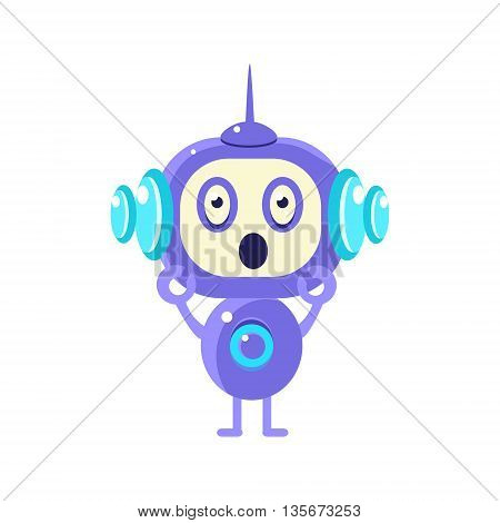 Shocked Little Robot Flat Childish Cartoon Style Vector Drawing Isolated On White Background