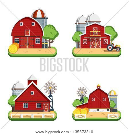 Farm isolated decorative icons set of wooden farmhouses with trees wind turbine tractor elevator flat vector illustration