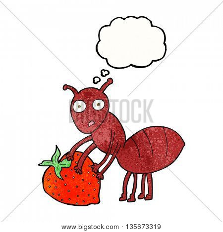 freehand drawn thought bubble textured cartoon ant with berry