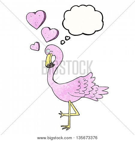 freehand drawn thought bubble textured cartoon flamingo in love