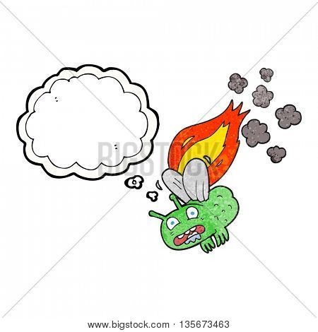 freehand drawn thought bubble textured cartoon fly crashign and burning