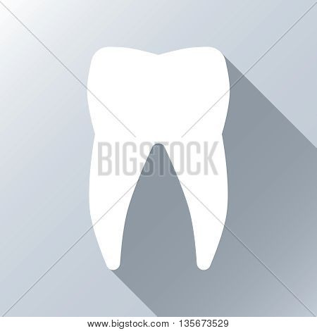 White tooth with long shadow effect. Silhouette white tooth, icon tooth white, stomatology healthcare, human white tooth. Vector illustration background