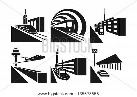 Transportation stations vector icons set. Station taxi car, station bus, building station train railway illustration