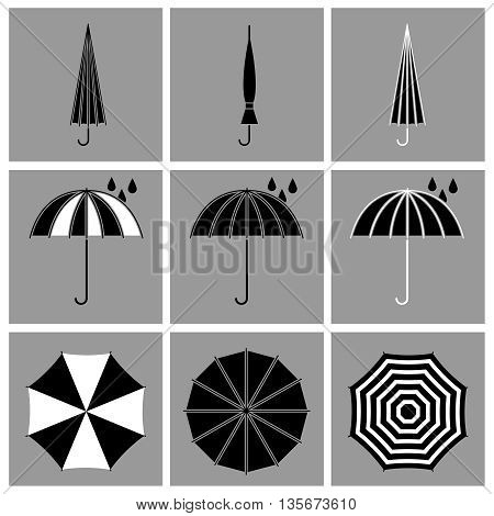 Umbrella black vector icons. Umbrella protection, accessory umbrella or parasol, open umbrella illustration