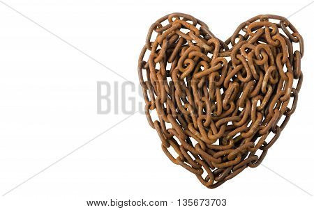 Old Rusty Chains Isolated on White Background, Heart Shape.