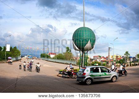 LANG SON, Vietnam, March 12, 2016 Lang Son city center, high mountains