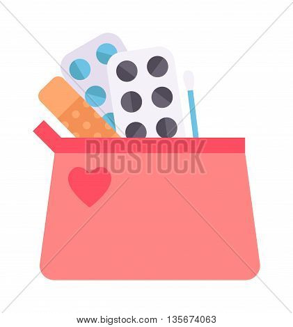 Contraceptives vector illustration education concept with oral contraceptive, emergency pills, injection contraceptive emergency first aid kit. Beautician with contraceptives pharmacy pill.