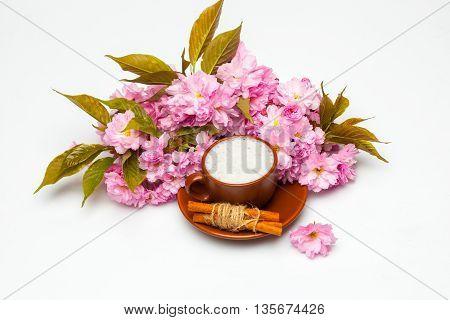 Sakura And Cup Of Milk