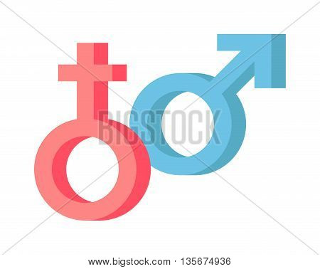 Male and female symbols vector combination. Male and female sex gender arrow abstract relationship shape. Heterosexual human icon two male and female sexual union contrasts graphic symbols.