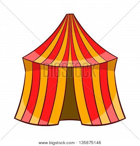 Circus tent icon in cartoon style on a white background
