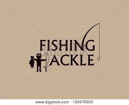fishing tackle background with fishing rod and fisherman silhouette