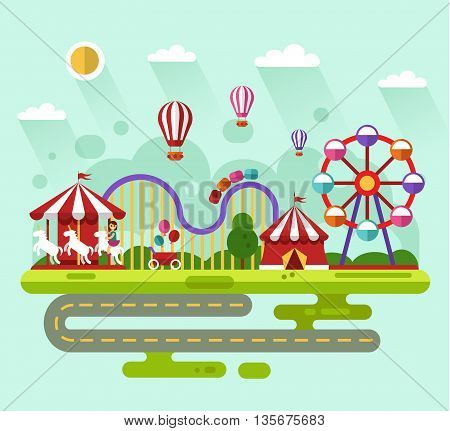 Flat design vector summer landscape illustration of carnival or amusement park with air balloons, carousel with kid, ferris wheel, roller coasters, road. Festival, carnival, circus concept.