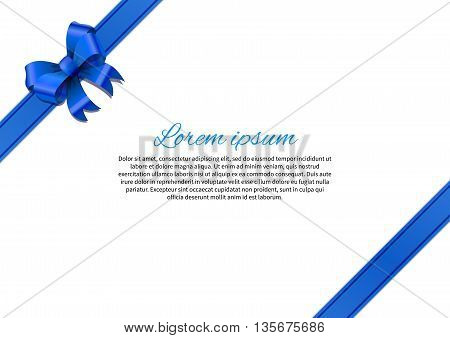White postcard with blue bow and text template