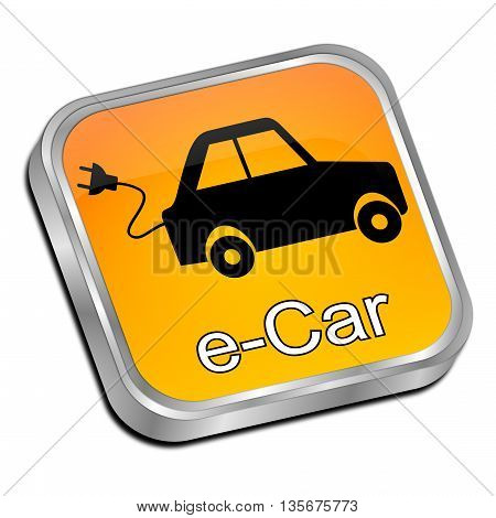 decorative orange e-Car Button - 3D illustration