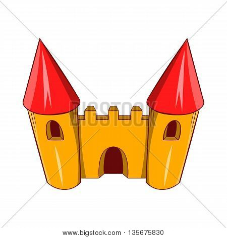 Fairy tale castle icon in cartoon style on a white background