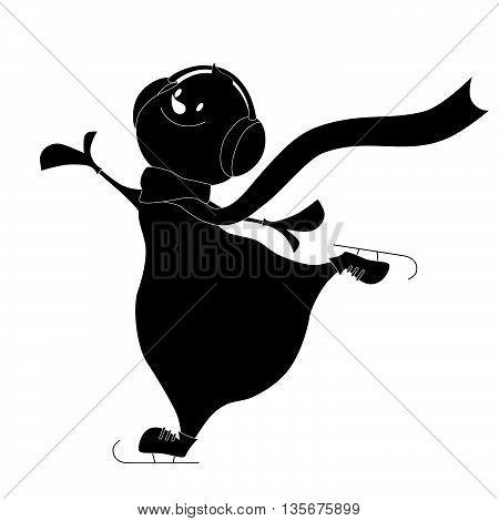 Happy Christmas snowman silhouette. Merry Christmas. Vector illustration