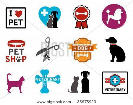 colorful veterinary icons with pet and concept symbols