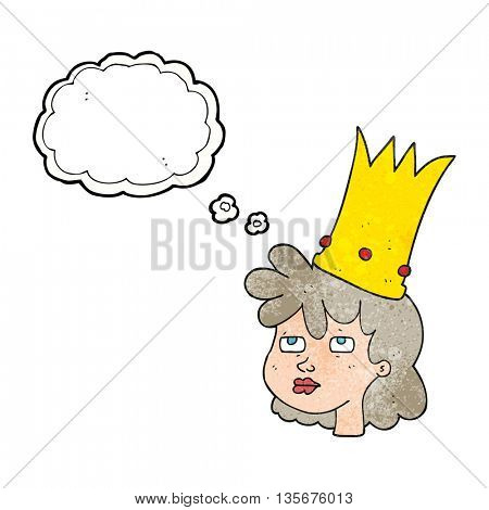 freehand drawn thought bubble textured cartoon queen with crown