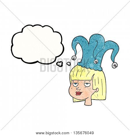 freehand drawn thought bubble textured cartoon female face with jester hat
