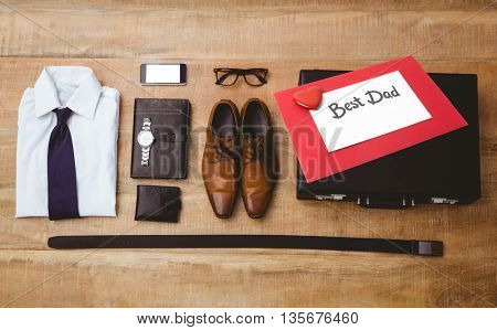 fathers day greeting against view of stuff for a businessman