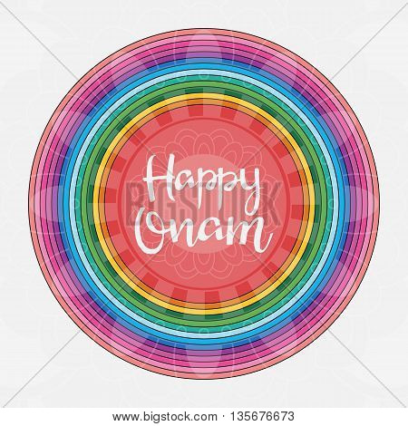 Happy Onam hand drawn lettering. Modern Calligraphy. South Indian festival. Vector illustration of beautiful colorful round pattern for your design