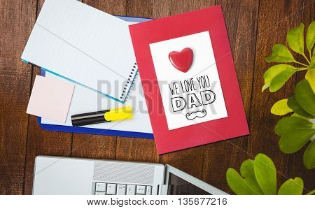 fathers day greeting against view of a business desk