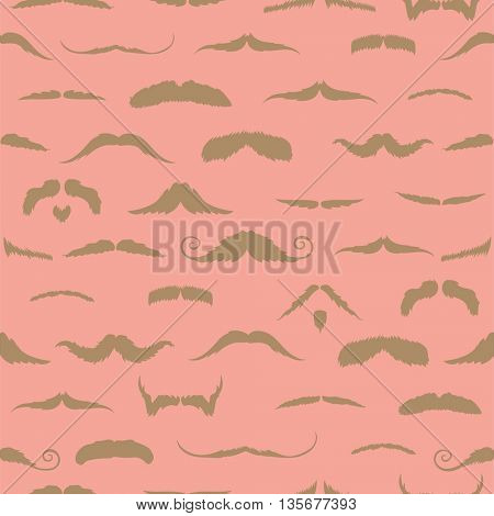 Mustaches against salmon background
