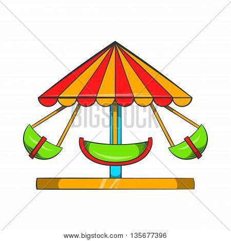 Boat carousel icon in cartoon style on a white background