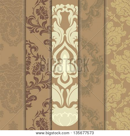 Floral ornament pattern set with stylized centered lilies flowers. Elegant luxury texture for backgrounds and invitation cards. Trendy colors. Vector