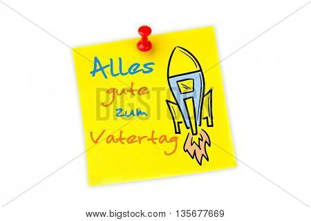 Word alles gute zum vatertag against digital image of pushpin on yellow paper