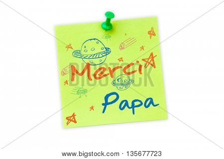 Word merci papa against digital image of pushpin on green paper