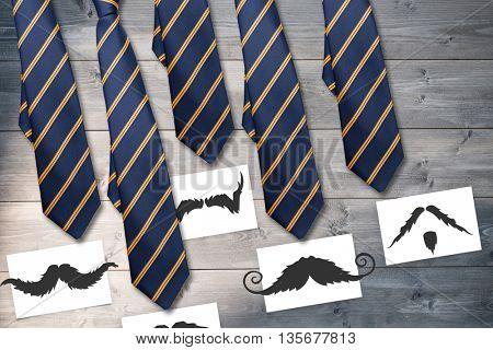 Composite image of ties and mustaches on wooden background